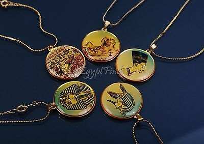 Amazing Lot OF 5 Egyptian King Tut the Sphinx Nefertiti And Ramses II Necklaces