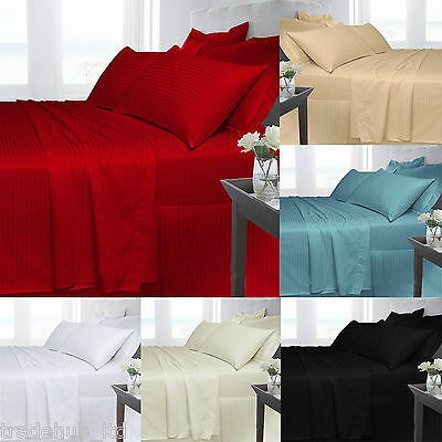 Egyptian Cotton Striped Duvet Cover With Pillow Cases Fitted Sheet Flat Sheets