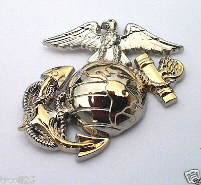 USMC EMBLEM Left Gold-Silver Military Vet US MARINES  Collar / Hat Pin P10244 EE