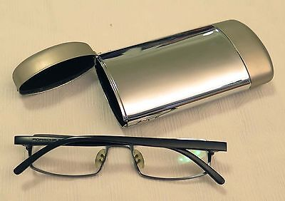 Silver Metal Spectacle Hard Glasses Case - Spring opening mechanism
