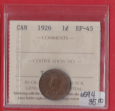 1926 Canada One Cent Coin See Scan 6594 ICCS EF - 45