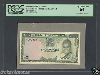 Zambia 2 Kwacha ND(1969) P11 Essay Face Proof Specimen Choice Uncirculated