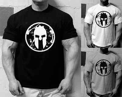 Mens Spartan Race Logo T Shirt Gym Motivation Bodybuilding Workout Training MMA