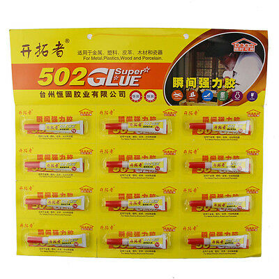 12PCS Adhesive Strong Rapid Bond Cure 502 Tube Super Glue for Plastic Wood