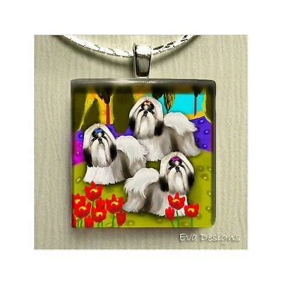 Shih Tzu Dogs Lake Art Gift Charm  Dangle Jewelry Necklace Glass Tile Pendant