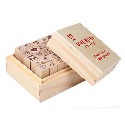 25pcs Love Diary Rubber Wooden Stamp Set DIY with Wooden Box