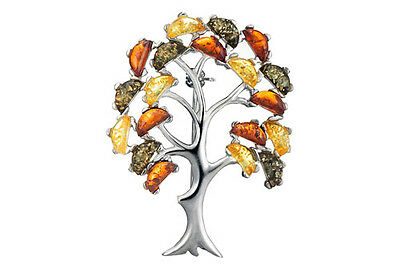 100% Sterling Silver 925 & Genuine Baltic Amber Big Tree Brooch Pendant +Box