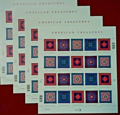 Five Sheets x 20 AMERICAN TREASURES AMISH QUILT 34¢ US Postage Stamps. # 3524-27