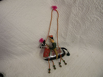 India Made Cloth and Wood Hanging Man on a Horse, hand sewn, man has wooden head