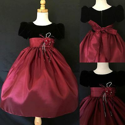 Burgundy Taffeta and Black Velvet Dress with Sleeves Toddler Girls Infant #32
