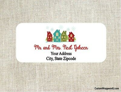 Christmas Holiday Home Houses Return Address Labels Personalized Custom