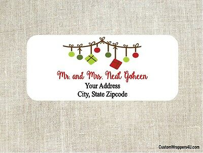 Christmas Holiday Ornaments Return Address Labels Personalized