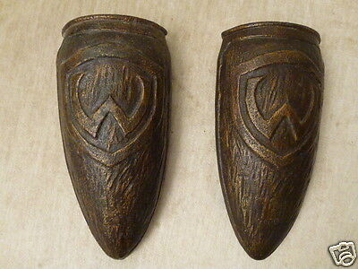Antique Pair of Cast Iron Wall Pockets With a Shield & W Arts and Craft style