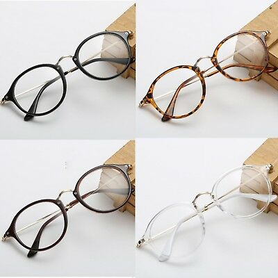 Unisex Mens Womens Round lens Metal & Plastic frame Clear lens Glasses