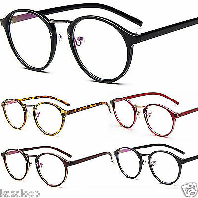 Unisex Mens Womens Round Oval metal bridge plastic frame Clear lens Glasses
