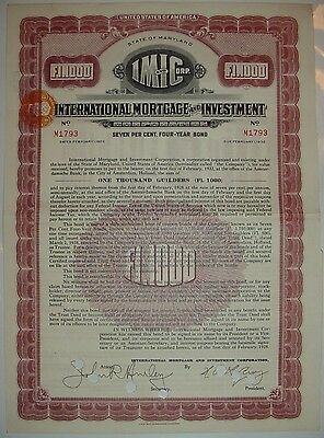 International Mortgage & Investment Corporation Bond Stock Certificate Maryland