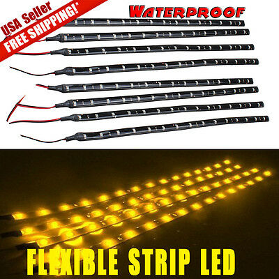 8x 12V 3000K Amber Yellow 30CM 15-LED Car Motor Flexible Strip Lights Waterproof
