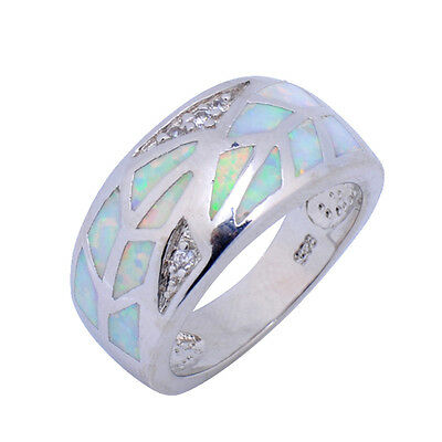 Wedding Band Ring White Fire Opal Sz 6-9 Women's Silver Plated  Womens Jewellery