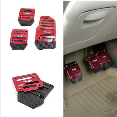 Car Auto Manual Gear Throttle Brake Clutch Non-Slip Foot Pedal Cover Red 3 Pcs