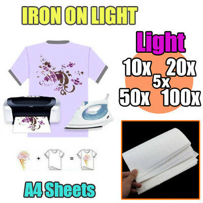10/20/50/100 sheets A4 Iron Heat Transfer Paper For The Light Cotton T-shirt AU