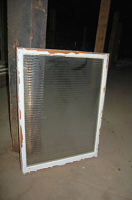 Antique  Ribbed Glass Panel In Frame Industrial Office Room Divider