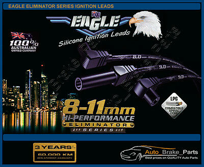 EAGLE BLACK 9.0mm ELIMINATOR Series Ignition Leads for FORD FALCON XF 4.1L EFI