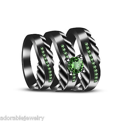 Full Black 925 Sterling Emerald Bridal His & Her Wedding Band Trio Ring Set