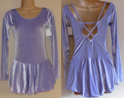 NWT AS & AXS 14y Purple Ice Roller Skating Majorette Dance Dress Costume Leotard