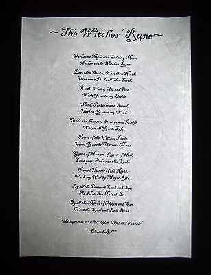 The Witches Rune Wicca Pagan witchcraft  Poster A4
