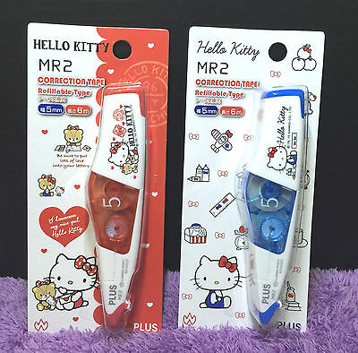 2x Hello Kitty Correction Tape Cute Minnie Whiper Mini Roller PLUS Whiteout 6m