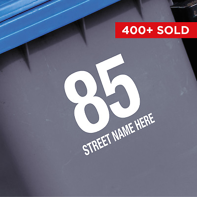 3 x WHEELIE BIN STICKERS - Number and street name. Recycling and Garden Waste