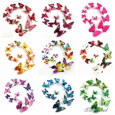 12pcs 3D Colorful Butterfly Wall Stickers Art Mural Door Decal Room Decorations