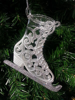 Kurt S. Adler Platinum Glittered Old Fashioned Filigree Ice Skate Xmas Ornament