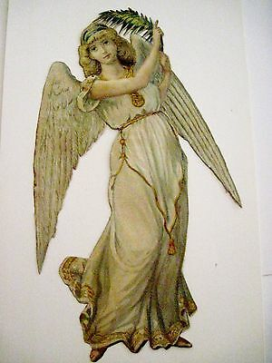Vintage Victorian Antique Christmas Die-Cut Scrap Angel w/Fern *