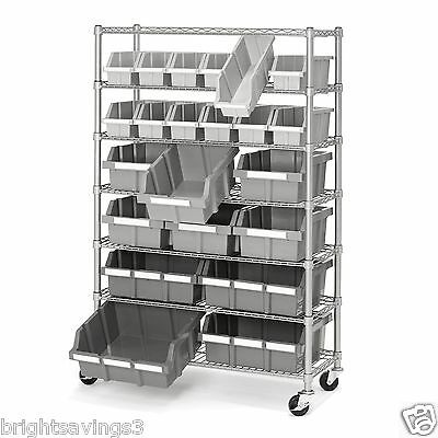 New 7 Shelf 22 Bin Rack Rolling Storage Shelving Commercial Storing Wire Shelves