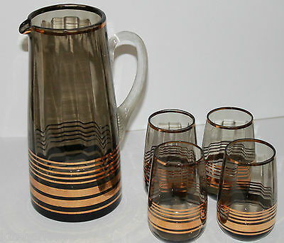 Vintage Water Set Smoke Grey Gold Stripe Glass Jug Glasses 4 Tumbler Wine 1970s
