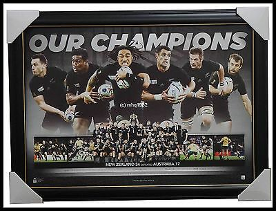 All Blacks 2015 World Cup Champions Limited Edition Official Print Framed Carter