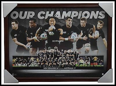 All Blacks Rugby Union 2015 World Cup Champions Print 33 Brown Frame + Coa