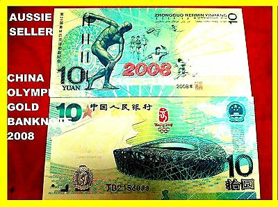 China Rare 10 Yuan Collectable Gold Banknote Beijing 2008  Olympic Coloured Note