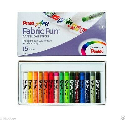 Pentel Fabric Fun Pastel Dye Sticks Crayons Fabric Paint Set Arts Colours 15 Pcs