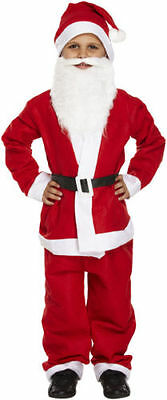 Boys Santa Suit With Beard Father Christmas Children Fancy Dress Costume Xmas