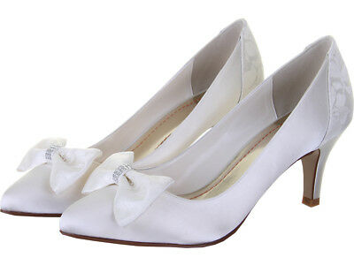 Rainbow Club Perry Lace Panel Ivory Court Womens Wedding Shoes UK Size 3-8 RRP55