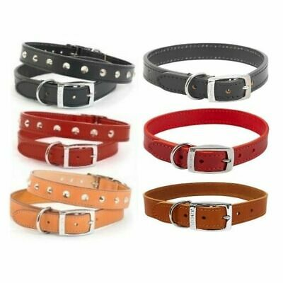 Ancol Heritage Dog Puppy Studded Handsewn Quality Leather Collar - Black Red Tan