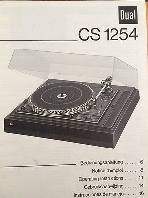 """Dual CS1254 Turntable """"Original"""" Owners Manual 2 Pages of English"""