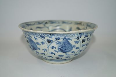 Early Ming dynasty 15th century blue and white big bowl with flower motif B-228