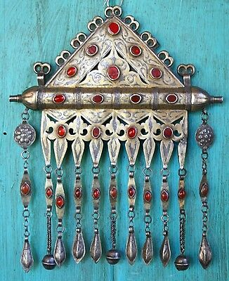 Tekke Turkoman 19th C.  Silver Niello Carnelian Jewelry/Art Islamic Caucasian