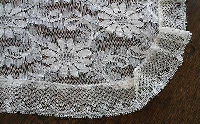 Vintage Alencon Style Net Lace Dresser Scarf Table Runner Daisies 39""