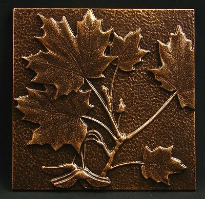 "Arts and Crafts Copper Tone Maple Leaf Tile by Whitehall 8"" x 8"""