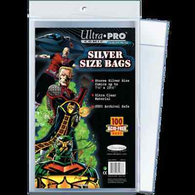 """Comic Bags 100 Count Silver Size [NEW] Ultra Pro Clear Poly Book 7-1/8""""x10-3/8"""""""