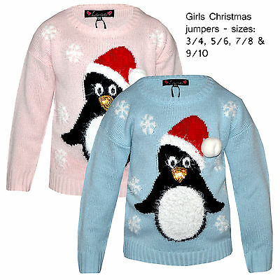 Girls Childrens Christmas Novelty Jumper Kids Xmas 3d Sparkly Penguin Sweater